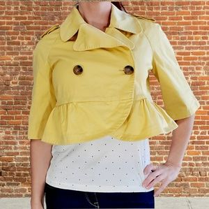 Victoria's Secret yellow crop peplum blazer